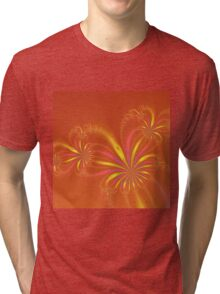Gold Orange and Pink Abstract Flowers Tri-blend T-Shirt