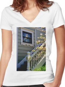 Upstairs Reflected, Downstairs Women's Fitted V-Neck T-Shirt