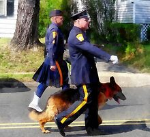 Policeman and Police Dog in Parade by Susan Savad