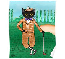 Cat on a Golf Outing Poster