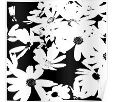 Silhouette of Flowers - Black and White Poster