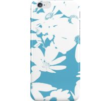 Silhouette of Flowers - Cerulean Blue and White iPhone Case/Skin