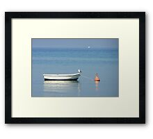 Dingy at the mooring. Framed Print