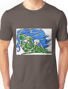Face in Blues and Greens - Fun Shapes Unisex T-Shirt