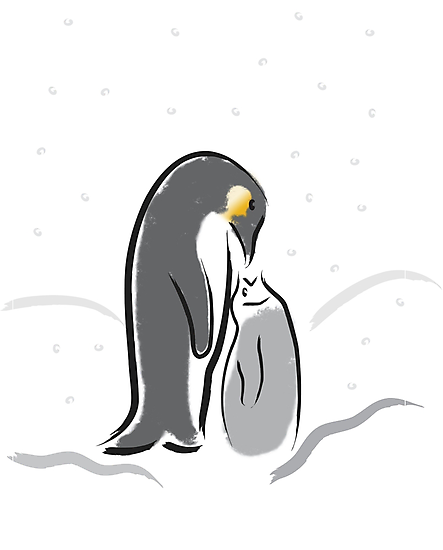 Baby Penguin Feeding time by dangerouslyclos