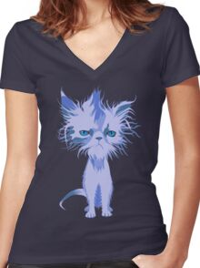 Wet Pussy Women's Fitted V-Neck T-Shirt