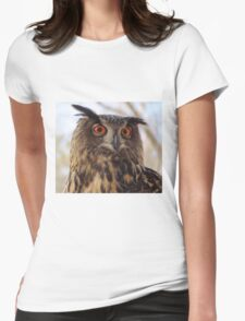 Eurasian Eagle Owl Womens Fitted T-Shirt