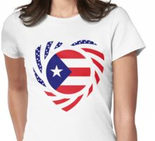 Puerto Rican American Multinational Patriot Flag Series 2.0 Womens Fitted T-Shirt