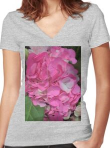 Pink Flowers Women's Fitted V-Neck T-Shirt