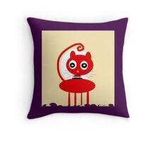 MY PET red, KITTY ART Throw Pillow