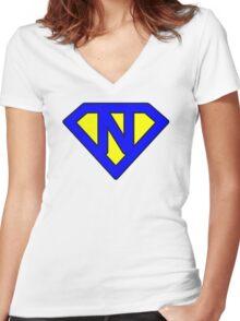 N letter Women's Fitted V-Neck T-Shirt