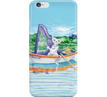 Miss Kitty and her harp on a lalke iPhone Case/Skin