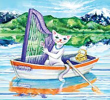 Elegant Miss Kitty plays harp on a lake by didielicious