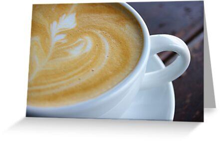 Closeup shot of foamy crema latte art by openyourap