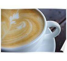 Closeup shot of foamy crema latte art Poster