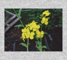 Yellow Mustard Green Flowers One Piece - Long Sleeve