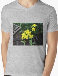 Yellow Mustard Green Flowers Mens V-Neck T-Shirt