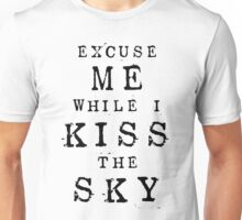 Excuse Me While I Kiss The Sky (White + Purple Version) Unisex T-Shirt