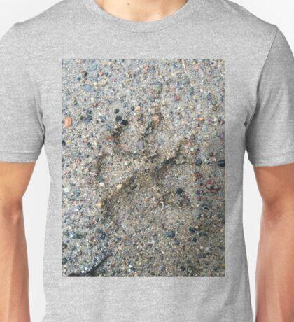 Dog Paw Print In Sand Unisex T-Shirt