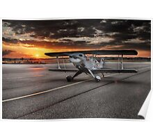 Propeller Airplane at Sunset Poster