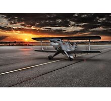 Propeller Airplane at Sunset Photographic Print