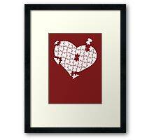 Heart Puzzle White Framed Print
