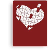 Heart Puzzle White Canvas Print
