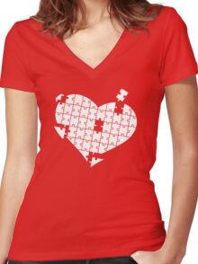 Heart Puzzle White Women's Fitted V-Neck T-Shirt