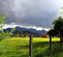 Fence at Countryside with Mountains by Daidalos