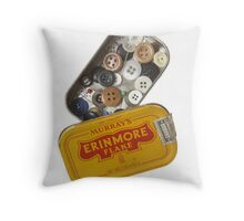 Buttons in Tobacco Tin Throw Pillow