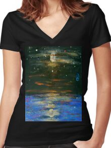 Night Sky at Sea Women's Fitted V-Neck T-Shirt