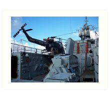Helicopter on HMS Plymouth Art Print