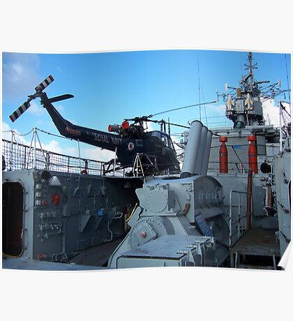 Helicopter on HMS Plymouth Poster