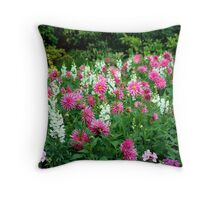 Dahlias and Snapdragons Throw Pillow