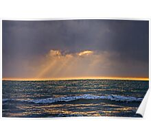 Rays Over The Ocean Poster