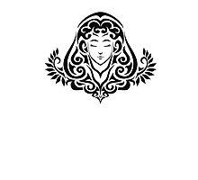 Zodiac Sign Virgo Black Photographic Print