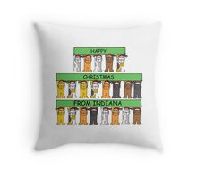 Cats wearing Santa hats Happy Christmas from Indiana. Throw Pillow