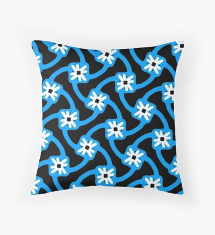 Blue on blue and white flower Throw Pillow