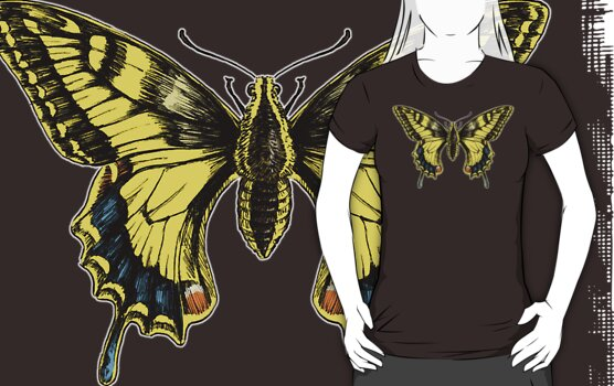 Swallowtail for dark shirts by Stephanie Smith