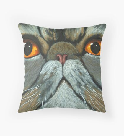 The Predictably Purr-sistant Persian - cat portrait oil painting Throw Pillow