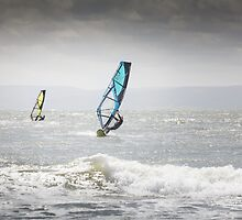 Windsurfers at Llantwit Major, south Wales by Heidi Stewart