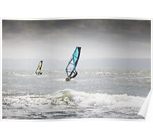 Windsurfers at Llantwit Major, south Wales Poster