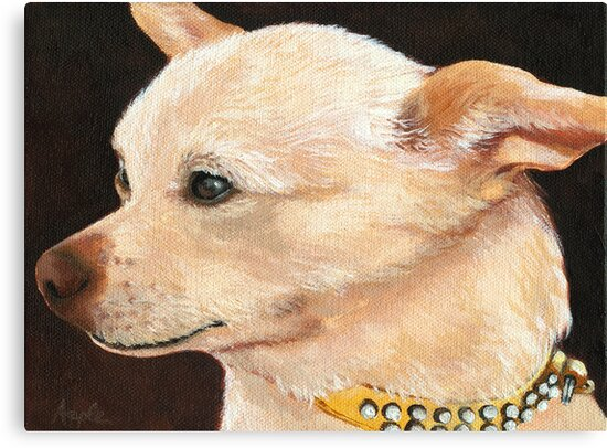 Classy Chihuahua - dog portrait painting by LindaAppleArt
