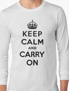 KEEP CALM AND CARRY ON (BLACK) Long Sleeve T-Shirt