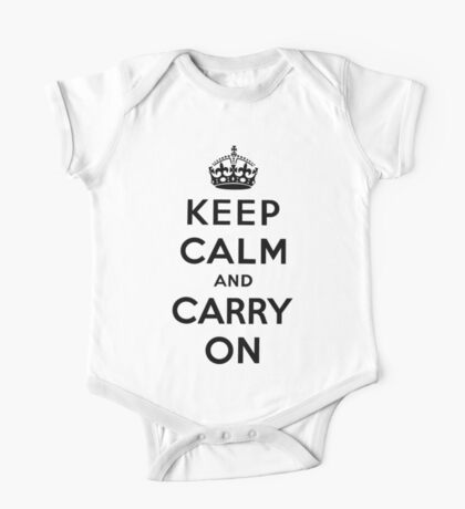 KEEP CALM AND CARRY ON (BLACK) One Piece - Short Sleeve
