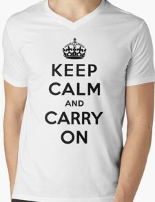 KEEP CALM AND CARRY ON (BLACK) Mens V-Neck T-Shirt