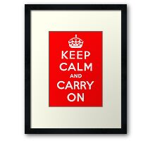 KEEP CALM AND CARRY ON (BLACK) Framed Print