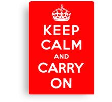 KEEP CALM AND CARRY ON (BLACK) Canvas Print