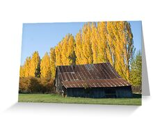 Old Barn and Yellow Trees Greeting Card