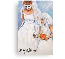 Bride and Flower Girl Canvas Print